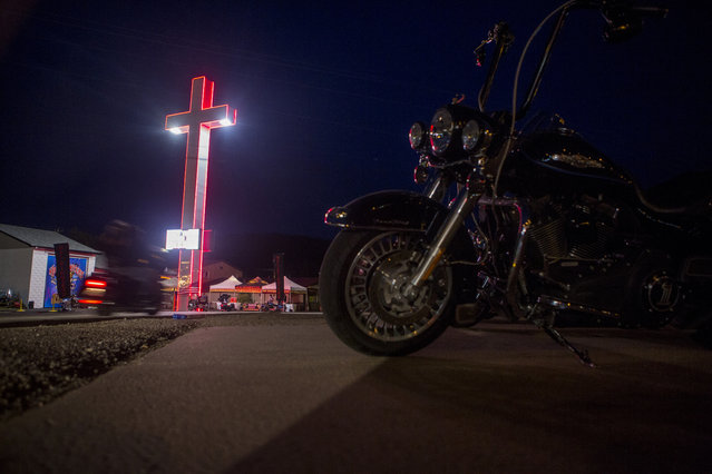The Hellfighters Christian motorcycle club which provides ministry and worship services to rallygoers at the annual Sturgis Motorcycle Rally is pictured in Sturgis, South Dakota, August 3, 2015. (Photo by Kristina Barker/Reuters)