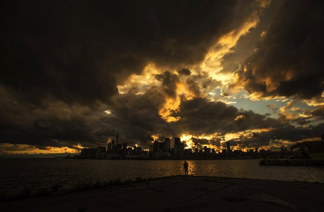 A man looks at the skyline after a rainy day in Toronto on July 8, 2014. (Photo by Mark Blinch/Reuters)