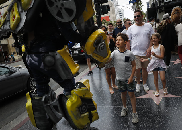 In this Friday, May 26, 2017 photo, Ramiro Rodriguez in a Bumblebee costume, a character from the Transformers movie series, shakes hands with young tourists on Hollywood Boulevard, in Los Angeles. The 39-year-old former restaurant worker from Guadalajara, Mexico, changed his career after watching a film on Hollywood characters. Rodriguez and his brother invested all their savings in the costume. Even on bad days, Rodriguez said they still make enough to buy dinner. (Photo by Jae C. Hong/AP Photo)