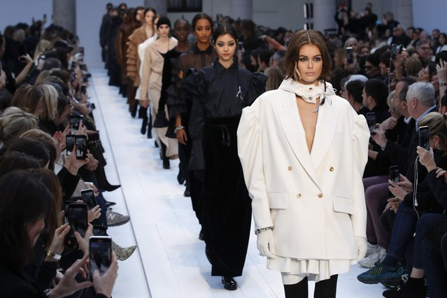 Model Kaia Gerber wears a creation as part of Max Mara's Fall/Winter 2020/2021 collection, presented in Milan, Italy, Thursday, February 20, 2020. (Photo by Antonio Calanni/AP Photo)