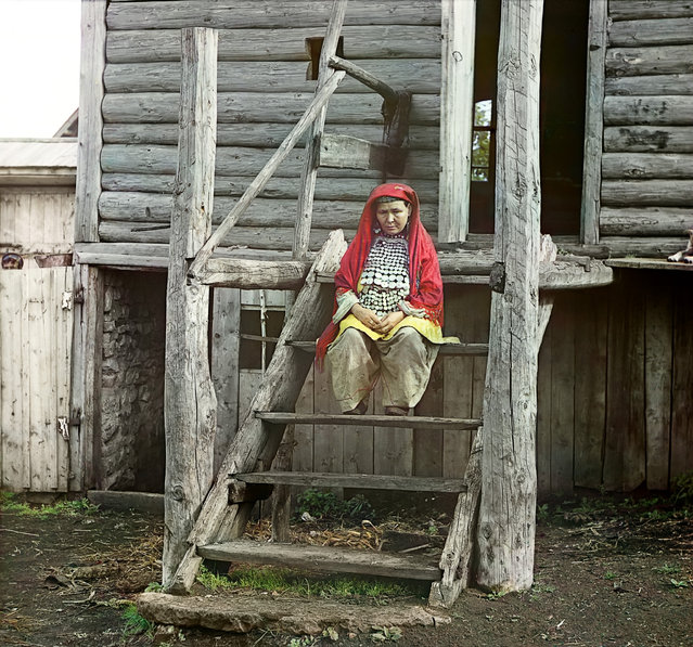 Photos by Sergey Prokudin-Gorsky. Bashkir woman in a folk costume. (In the village of Yakhia). Russia, Ufa Province, Ufa uyezd (district), Yakhino village, 1910