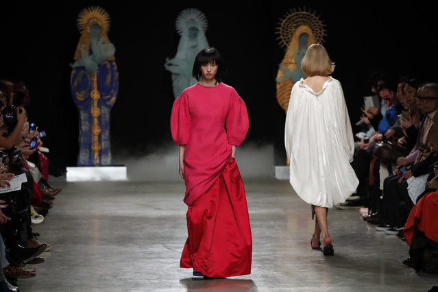 Models wear creations for Junko Shimada fashion collection during Women's fashion week Fall/Winter 2020/21 presented in Paris, Tuesday, March 3, 2020. (Photo by Francois Mori/AP Photo)