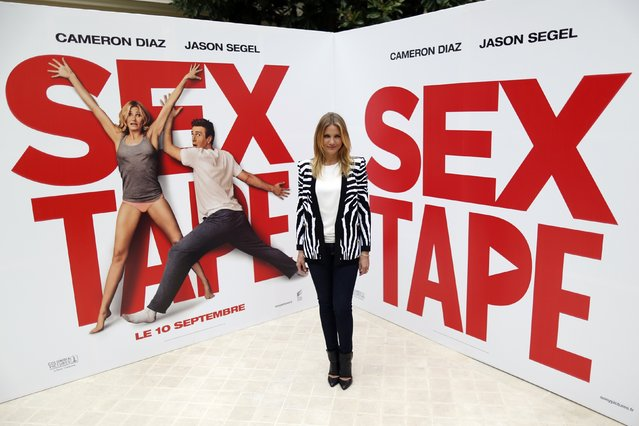 """Actress Cameron Diaz attends a photocall to promote the movie """"s*x Tape"""" in Paris September 4, 2014. (Photo by Charles Platiau/Reuters)"""