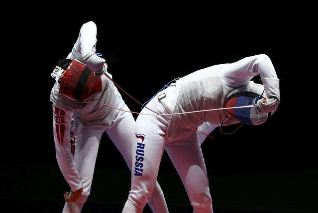 2016 Rio Olympics, Fencing, Final, Women's Foil Individual Bronze Medal Bout, Carioca Arena 3, Rio de Janeiro, Brazil on August 10, 2016. Aida Shanaeva (RUS) of Russia competes with Ines Boubakri (TUN) of Tunisia. (Photo by Peter Cziborra/Reuters)