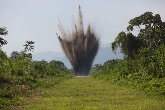 In this September 19, 2014 photo, explosives are detonate by Peruvian counternarcotics forces on a part of a clandestine grassy airstrip in the Apurimac, Ene and Mantaro River Valleys, or VRAEM, the world's No. 1 coca-growing region, in Ayacucho, Peru. The dynamiting of craters by Peruvian security forces into clandestine airstrips cuts into profits but hardly discourages cocaine traffickers who net tens of thousands of dollars with each flight flown from these airstrips. (Photo by Rodrigo Abd/AP Photo)