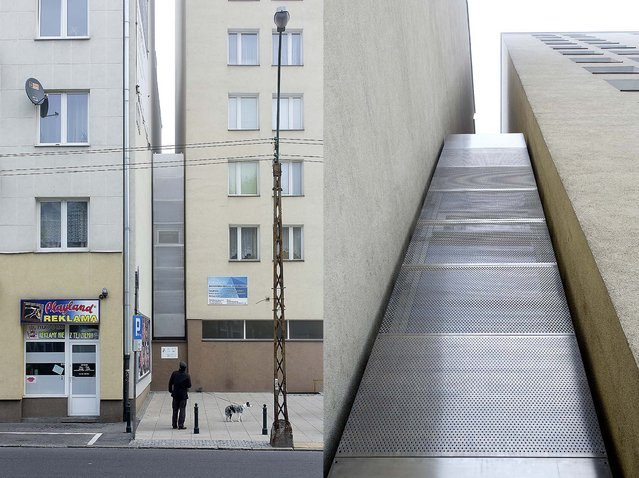 The Keret House is squeezed into the space between two apartment buildings in Warsaw. There's a four-inch gap between the apartment buildings to either side. A perforated steel facade was used to allow in more light. (Photo by Andrea Meichsner/The New York Times)