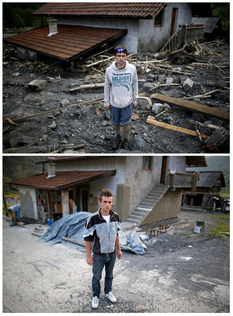 A combination photo shows Adin Osmanovic posing in front of his flood-damaged house during floods May 20, 2014 (top) and the same place after floods October 8, 2014, in Topcic Polje. (Photo by Dado Ruvic/Reuters)