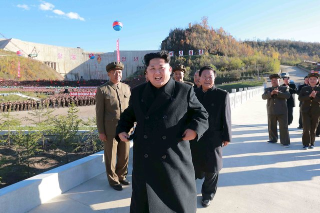 North Korean leader Kim Jong Un attends the completion event of the Paektusan Hero Youth Power Station in this undated photo released by North Korea's Korean Central News Agency (KCNA) in Pyongyang October 4, 2015. (Photo by Reuters/KCNA)