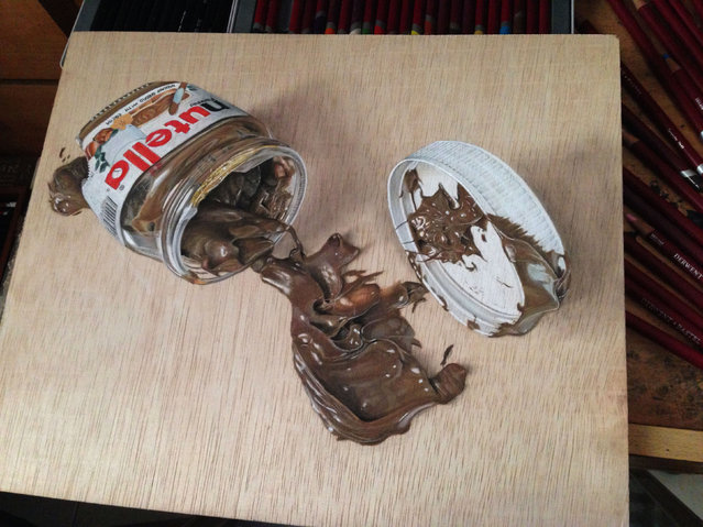 Ivan Hoos drawing of spilled nutella. (Photo by Ivan Hoo/Caters News)