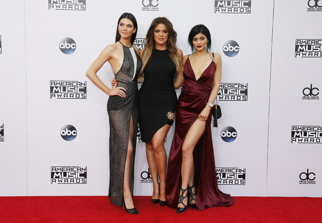 Kendall Jenner, Khloe Kardashian and Kylie Jenner arrive at the 42nd American Music Awards in Los Angeles. (Photo by Danny Moloshok/Reuters)