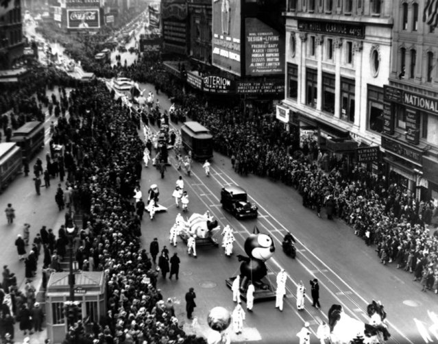 This is a photo of the Macy's Thanksgiving Day Parade on Broadway in New York City on November 30, 1933.  (Photo by AP Photo)