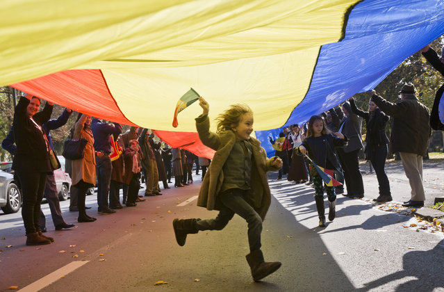 A child runs under a large flag as supporters of the monarchy march to celebrate the 94th birthday of former Romanian King Michael I, in Bucharest, Romania, Sunday, October 25, 2015. Monarchy supporters carried a 150 meters long flag on a main boulevard in the Romanian capital to celebrate the former king's birthday. (Photo by Vadim Ghirda/AP Photo)