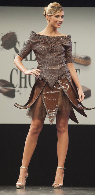 Miss France 2015 Camille Cerf walks the runway during Chocolate fashion show as a part of the Salon Du Chocolat 2015 - Chocolate Fair at Parc des Expositions Porte de Versailles on October 27, 2015 in Paris, France. (Photo by Kay-Paris Fernandes/WireImage)