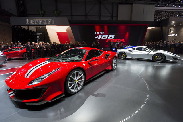 The new Ferrari 488 Pista is presented during the press day at the 88th Geneva International Motor Show in Geneva, Switzerland, Tuesday, March 6, 2018. The Motor Show will open its gates to the public from March 8 to 18. (Photo by Cyril Zingaro/Keystone via AP Photo)