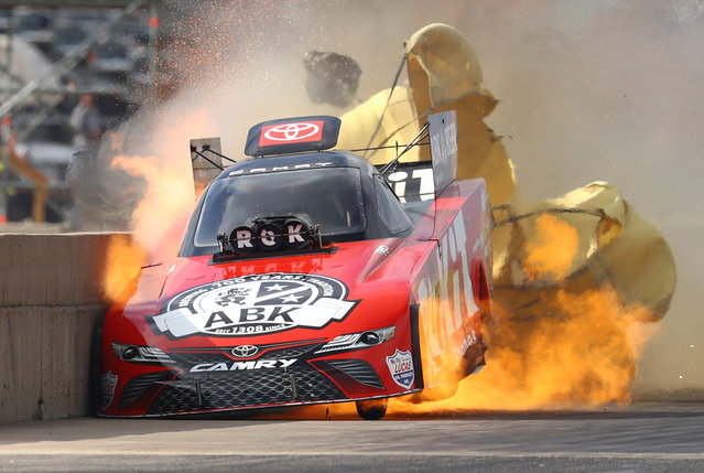 NHRA funny car driver Alexis DeJoria suffers an engine fire after winning her first round matchup during the Fall Nationals at Texas Motorplex on October18, 2020 in Ennis, Texas. DeJoria would be uninjured in the fiery incident. (Photo by Mark J. Rebilas/USA TODAY Sports)
