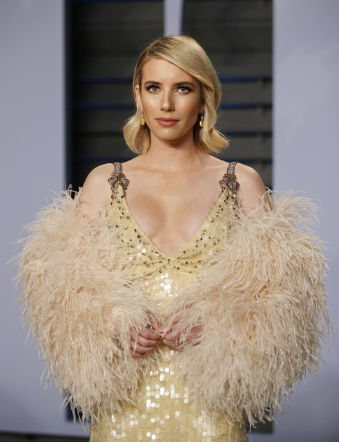 Emma Roberts attends the 2018 Vanity Fair Oscar Party hosted by Radhika Jones at the Wallis Annenberg Center for the Performing Arts on March 4, 2018 in Beverly Hills, California. (Photo by Danny Moloshok/Reuters)