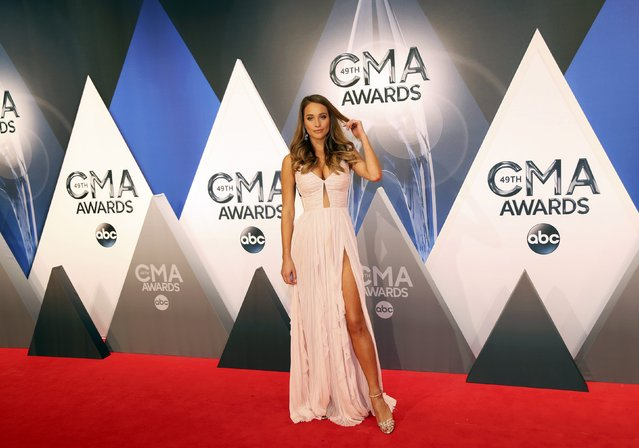 Model Hannah Davis arrives at the 49th Annual Country Music Association Awards in Nashville, Tennessee November 4, 2015. (Photo by Jamie Gilliam/Reuters)