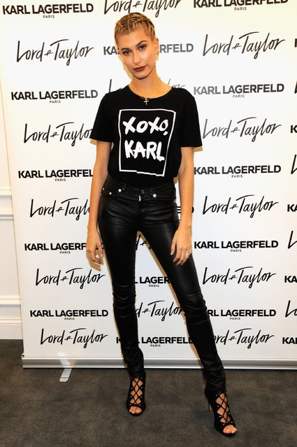 Karl Lagerfeld Paris x ELLE Event with Joan Smalls and Hailey Baldwin on October 18, 2016 in New York City. (Photo by Rabbani and Solimene Photography/Getty Images for Lord & Taylor)