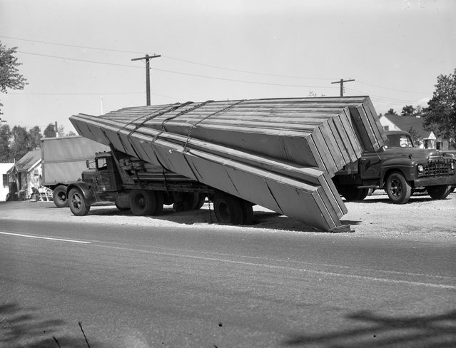Accidents car, 1950s. (Photo by Leslie Jones)