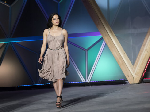 Michelle Rodriguez walks the runway at Fashion For Relief show during the 71st annual Cannes Film Festival at Aeroport Cannes Mandelieu in Cannes, France, 13 May 2018. (Photo by Arnold Jerocki/EPA/EFE)
