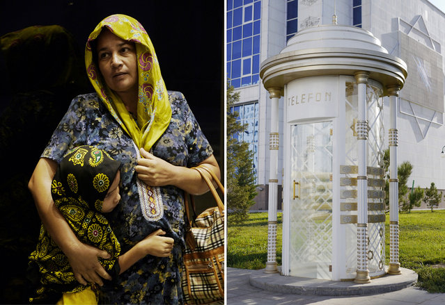 Left: A Turkmen mother and child shelter during a heavy rainstorm in the capital. Almost all women wear traditional Turkmen clothing when in public. Right: An ornate telephone booth in the city center. (Photo by Amos Chapple via The Atlantic)
