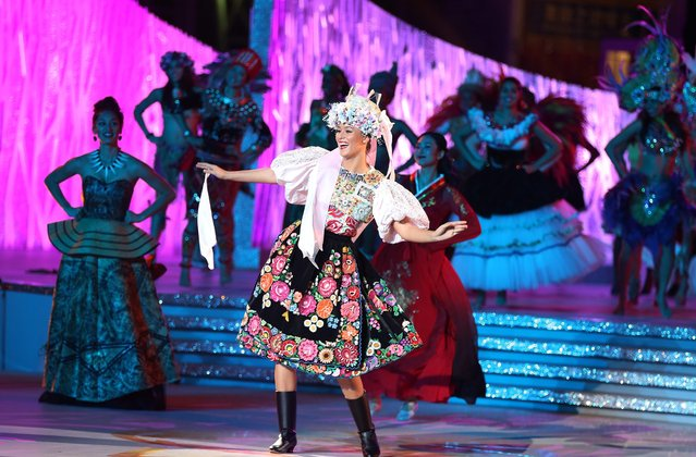 Miss World Netherlands Margot Hanekamp performs in colourful costumes during a dress rehearsal for the Miss World grand final in Sanya, Hainan province, China, 18 December 2015. (Photo by How Hwee Young/EPA)