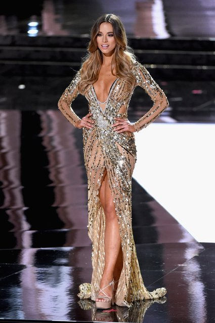 Miss Australia 2015, Monika Radulovic, competes in the evening gown competition during the 2015 Miss Universe Pageant at The Axis at Planet Hollywood Resort & Casino on December 20, 2015 in Las Vegas, Nevada. (Photo by Ethan Miller/Getty Images)