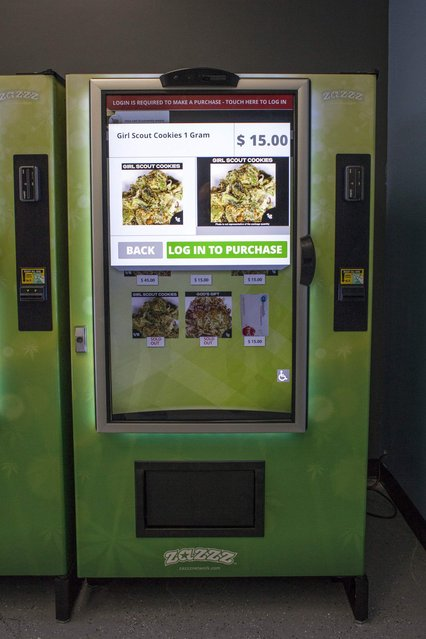 A view of a ZaZZZ vending machine that contains cannabis flower, hemp-oil energy drinks, and other merchandise at Seattle Caregivers, a medical marijuana dispensary, in Seattle, Washington February 3, 2015. (Photo by David Ryder/Reuters)
