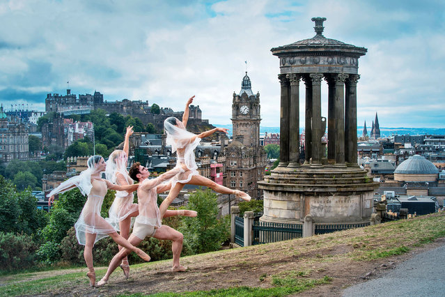 Undated handout photo of members of Ballet Ireland during a photocall on Edinburgh's Calton Hill before taking part in the Edinburgh Festival 2018 in Edinburgh, Scotland. Issue date: Tuesday, August 7, 2018. (Photo by Julie Howden/Culture Ireland/PA Wire)