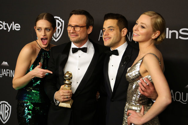 Actors Carly Chaikin, Christian Slater, winner of Best Supporting Performance in a Series, Miniseries or Television Film for 'Mr. Robot,' Rami Malek and Portia Doubleday (L-R), winners of Best Series - Drama for 'Mr. Robot,' attend the 17th Annual Instyle and Warner Bros. Pictures Golden Globes After Party in Beverly Hills, California January 10, 2016. (Photo by David McNew/Reuters)
