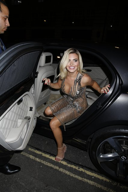 UK Love Island star Megan Barton Hanson seen attending LFW s/s 2019: Julien Macdonald – catwalk show & afterparty at St John's, Hyde Park during London Fashion Week September 2018 on September 15, 2018 in London, England. (Photo by Splash News and Pictures)
