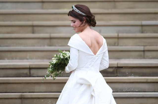 Britain's Princess Eugenie of York arrives for her royal wedding ceremony to Jack Brooksbank at St George's Chapel at Windsor Castle, in Windsor, Britain, 12 October 2018. (Photo by Neil Hall/EPA/EFE)