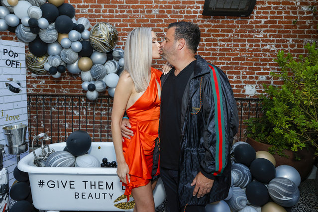 """Model Lala Kent and American film producer Randall Emmett attend the """"Vanderpump Rules"""" Party For LALA Beauty Hosted By Lala Kent at Beauty & Essex on June 30, 2021 in Los Angeles, California. (Photo by Amy Sussman/Getty Images)"""