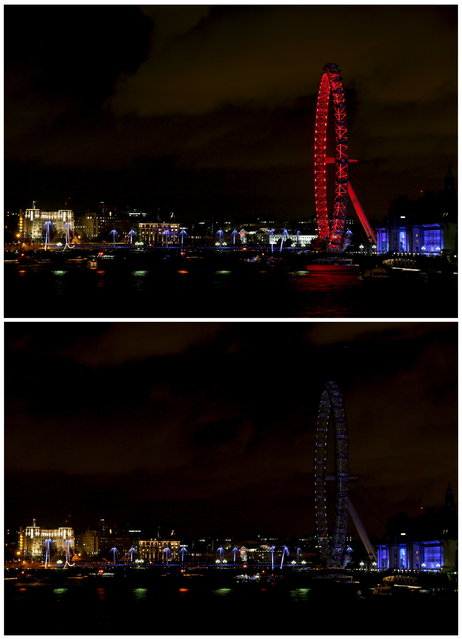 A combination picture shows London Eye before and during the Earth Hour in central London March 28, 2015. (Photo by Stefan Wermuth/Reuters)