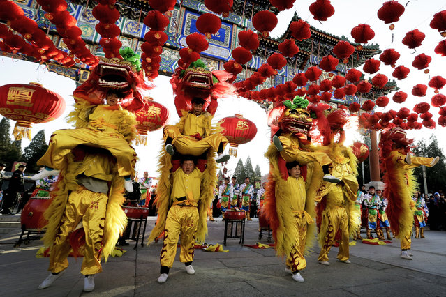 Performers participate in a lion dance at Ditan Park to mark the first day of Chinese Lunar New Year in Beijing, Monday, February 8, 2016. (Photo by Andy Wong/AP Photo)