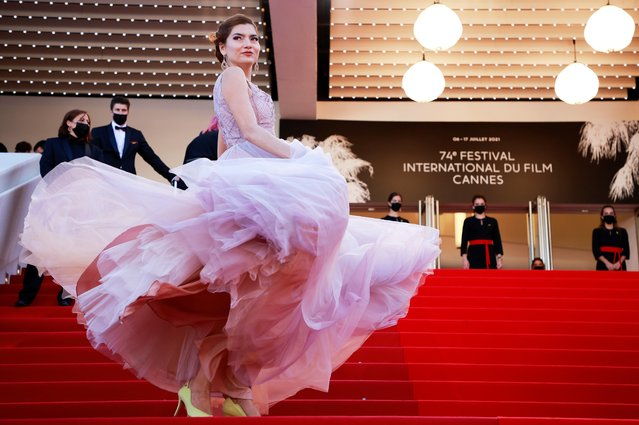 """US actress Blanca Blanco arrives for the screening of the film """"Aline, The Voice Of Love"""" at the 74th edition of the Cannes Film Festival in Cannes, southern France, on July 13, 2021. (Photo by Sarah Meyssonnier/Reuters)"""