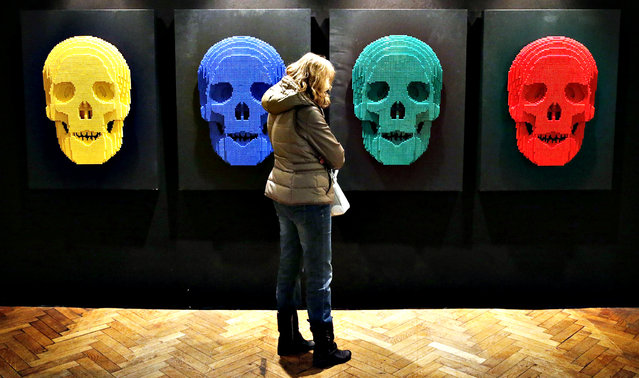 "A visitor looks at the art work titled ""Skulls"", which is constructed out of 12,444 Lego bricks, during the ""The Art of the Brick"" exhibition at the Brussels Stock Exchange November 25, 2013. The exhibition featuring large Lego art works by U.S. Lego artist Nathan Sawaya will run till April 21, 2014. (Photo by Francois Lenoir/Reuters)"