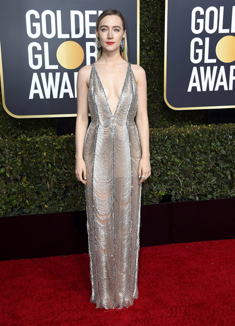 Saoirse Ronan arrives at the 76th annual Golden Globe Awards at the Beverly Hilton Hotel on Sunday, January 6, 2019, in Beverly Hills, Calif. (Photo by Jordan Strauss/Invision/AP Photo)