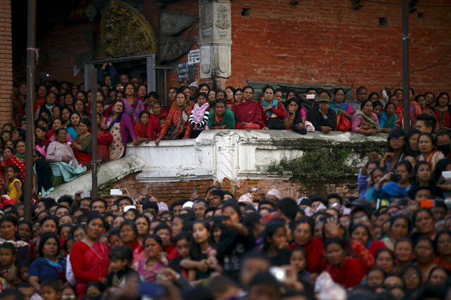 Devotees gather to observe religious rituals of Rato Machhindranath at Bungamati in Lalitpur April 5, 2015. (Photo by Navesh Chitrakar/Reuters)