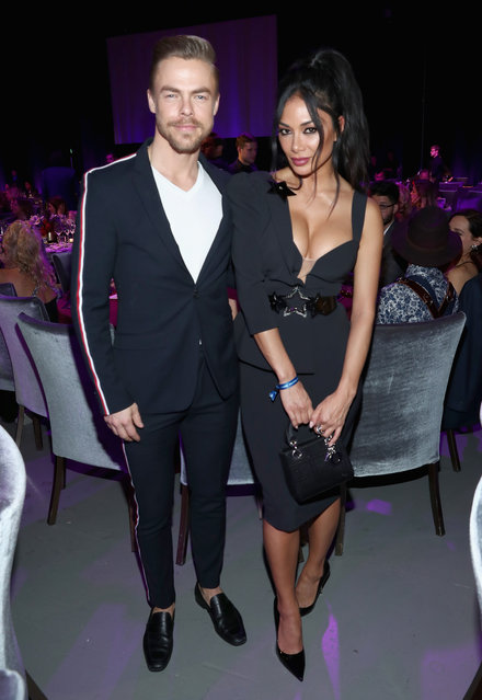 Derek Hough and Nicole Scherzinger attend Steven Tyler's Second Annual GRAMMY Awards Viewing Party to benefit Janie's Fund presented by Live Nation at Raleigh Studios on February 10, 2019 in Los Angeles, California. at Raleigh Studios on February 10, 2019 in Los Angeles, California. (Photo by Rich Polk/Getty Images for Janie's Fund)
