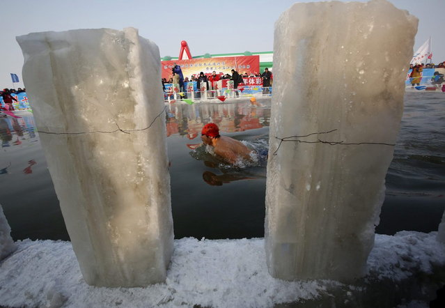 A man swims in a pool carved into the thick ice covering the Songhua River during the Harbin Ice Swimming Competition in the northern city of Harbin, Heilongjiang province January 5, 2014. (Photo by Kim Kyung-Hoon/Reuters)