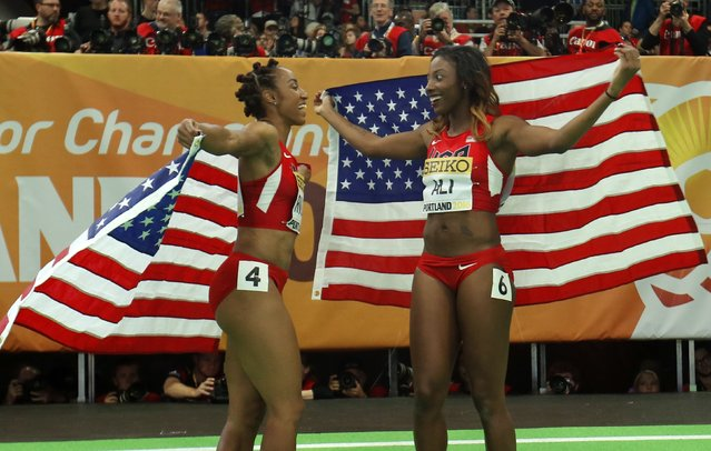 Nia Ali of the U.S. (R) celebrates winning the gold medal in the women's 60 meter hurdles with silver medal winning compatriot Brianna Collins during the IAAF World Indoor Athletics Championships in Portland, Oregon March 18, 2016. (Photo by Mike Blake/Reuters)