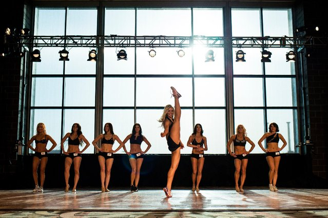 Contestants dance for a panel of judges during the final round of the Sea Gal audition process, Sunday, May 3, 2015, at CenturyLink Field in Seattle. More than 100 women showed up to the first of three rounds on April 25, and only 30 made the final cut to secure a place on the 2015 squad. (Photo by Jordan Stead/Seattlepi.com via AP Photo)