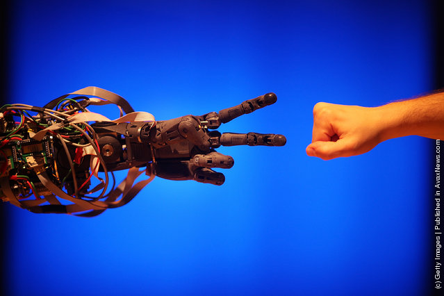 Life-size humanoid robot BERTI (Bristol EluMotion Robotic Torso number 1 or RT-1)  plays the game rock-paper-scissors