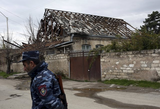 A view shows a damaged house in Martakert province, which according to Armenian media was affected by clashes over the breakaway Nagorno-Karabakh region, April 4, 2016. (Photo by Vahan Stepanyan/Reuters/PAN Photo)