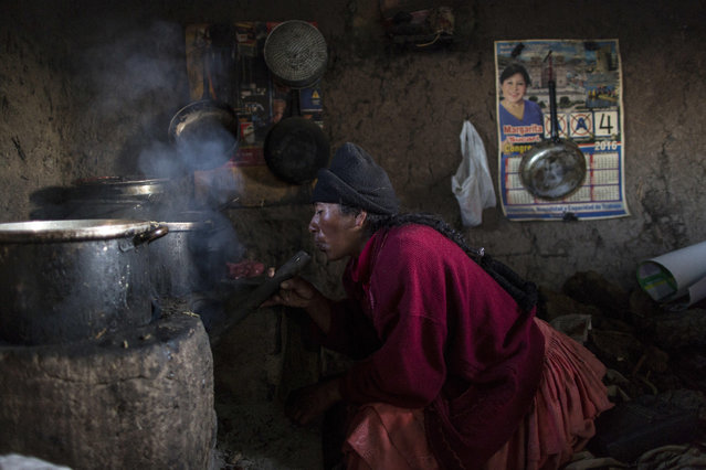 """In this February 4, 2017 photo, Lilian Avila Diaz lights her firewood stove to cook lunch for her family in Coata, a small village on the shore of Lake Titicaca, in the Puno region of Peru. The amount of mercury consumed by Titicaca residents is """"unacceptable"""", according to Dr. Jane M. Hightower, who specializes in internal medicine at the California Pacific Medical Center in San Francisco and author of the book """"Diagnosis: Mercury: Money, Politics & Poison"""", after reviewing a 2014 study on fish caught from Lake Titicaca. (Photo by Rodrigo Abd/AP Photo)"""