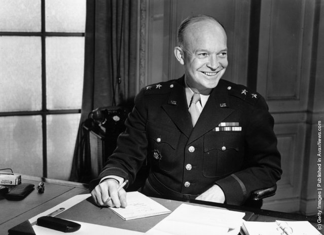 1942: Newly-promoted Lieutenant-General Dwight D. Eisenhower, supreme commander of the Allied forces in Europe, and later 34th President of the United States of America