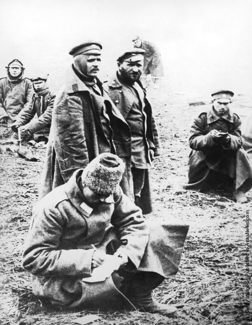 Russian soldiers write home while serving on the Eastern Front during World War I, circa 1915