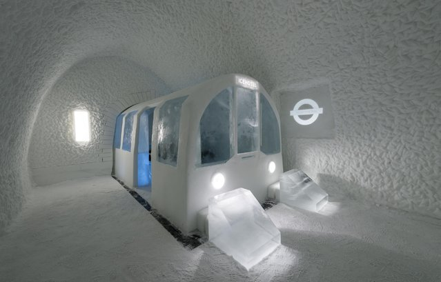 One room was even inspired by London's Underground system with guests sleeping in an ice version of a tube carriage. (Photo by Icehotel.com/Exclusivepix Media)