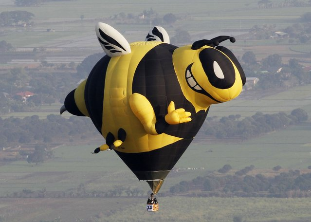 A Bee shaped hot air balloon floats over rice fields during the Philippine International Balloon festival in Lubao town, Pampanga province, north of Manila April 10, 2014. An estimated 30 hot air balloons participated in the event which aims to promote tourism in the Southeast Asian country, local media reported. (Photo by Romeo Ranoco/Reuters)